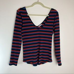 Free People V Neck Striped Ribbed Top Large